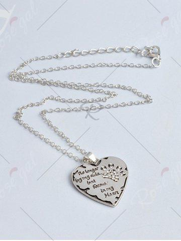 Fashion Heart Engraved Forever Claw Footprint Necklace - WHITE  Mobile