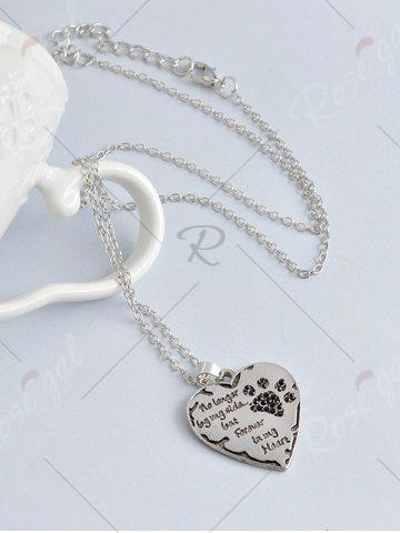 Cheap Heart Engraved Forever Claw Footprint Necklace - BLACK  Mobile