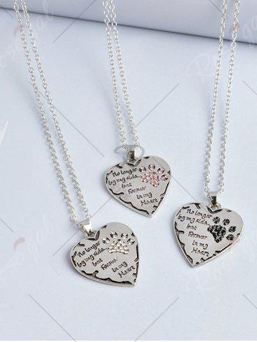 Affordable Heart Engraved Forever Claw Footprint Necklace - BLACK  Mobile