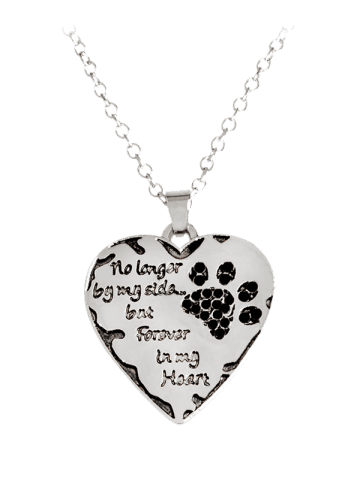 Fashion Heart Engraved Forever Claw Footprint Necklace - BLACK  Mobile