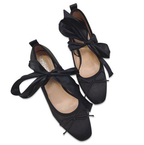 Cheap Bow Block Heel Satin Pumps BLACK 37