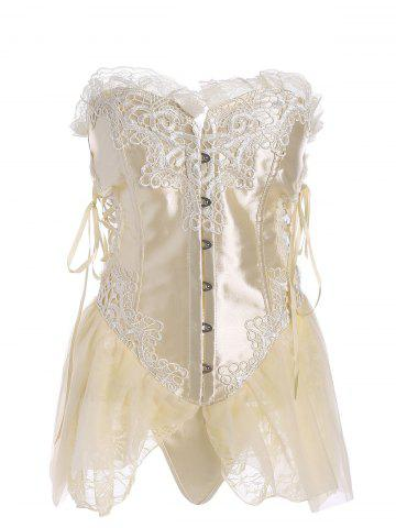 Affordable Ruffles Lace-up Vintage Corset Top APRICOT S