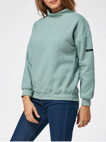 Trendy Fleece High Neck Sweatshirt - ONE SIZE GREEN Mobile
