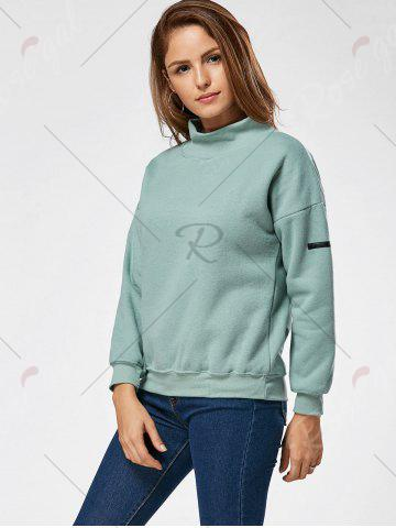 Shop Fleece High Neck Sweatshirt - ONE SIZE GREEN Mobile