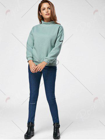 Chic Fleece High Neck Sweatshirt - ONE SIZE GREEN Mobile