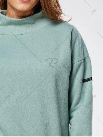 Discount Fleece High Neck Sweatshirt - ONE SIZE GREEN Mobile