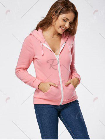 Affordable Zipper Fly Fleeced Hoodie - S PINK Mobile