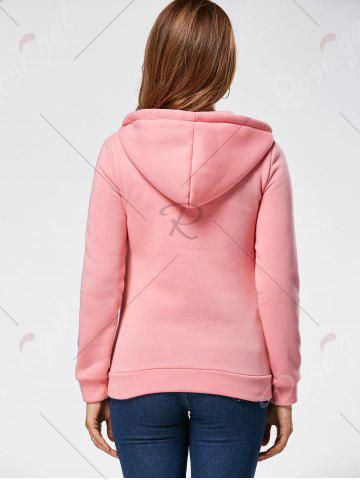 Fancy Zipper Fly Fleeced Hoodie - S PINK Mobile