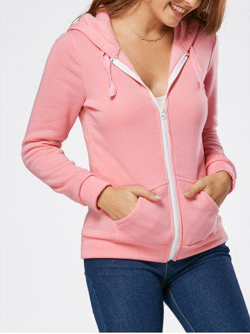 Chic Zipper Fly Fleeced Hoodie - S PINK Mobile