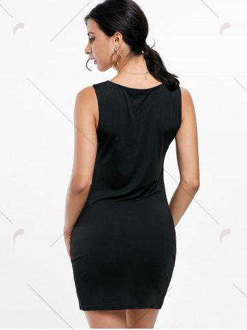 Best Mini Two Tone Fitted Tight Dress - S BLACK WHITE Mobile