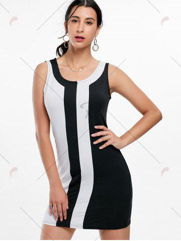 Outfits Mini Two Tone Fitted Tight Dress - S BLACK WHITE Mobile