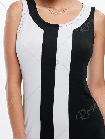 Cheap Mini Two Tone Fitted Tight Dress - S BLACK WHITE Mobile