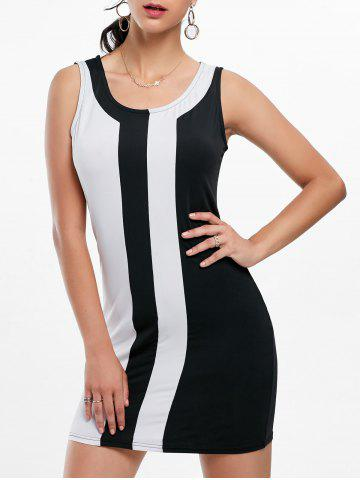 Mini Two Tone Fitted Tight Dress - Black White - Xl