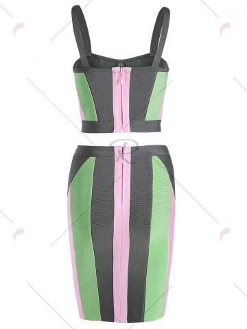 Latest Bodycon Two Piece Color Block Fitted Bandage Dress - S COLORMIX Mobile