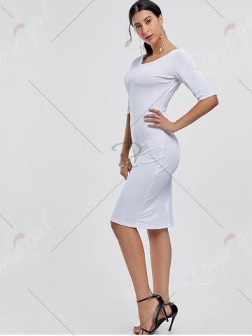 Outfit Open Back Party Pencil Dress - S WHITE Mobile