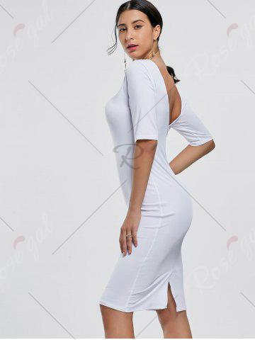Best Open Back Party Pencil Dress - S WHITE Mobile