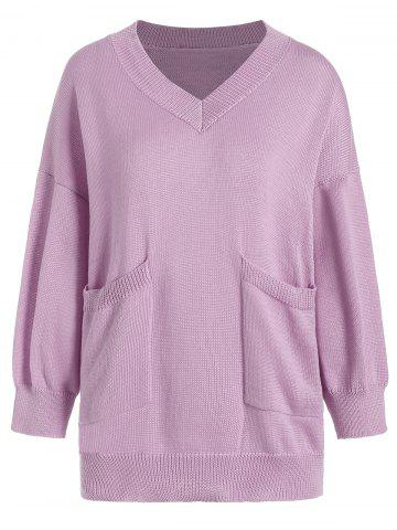 Fashion V Neck Pocket Plus Size Knit Sweater LIGHT PURPLE 2XL