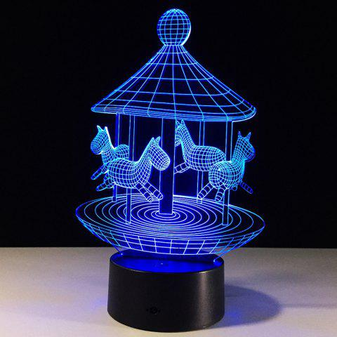 Affordable Carousel Desigh Colors Change 3D LED Touch Night Light - TRANSPARENT  Mobile
