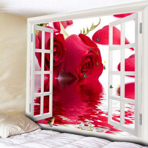 Window Butterly Rose Wall Art Tapestry - Rose Madder - W79 Inch * L59 Inch