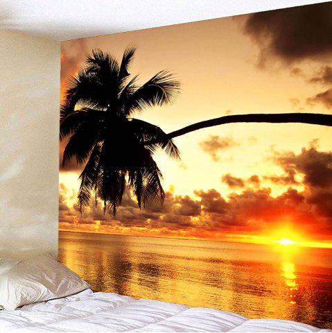 Sunset Coconut Tree Waterproof Hanging Wall Tapestry - Colorful - W79 Inch * L79 Inch