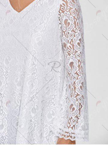 Chic Bell Sleeve Lace Tunic Top - M WHITE Mobile