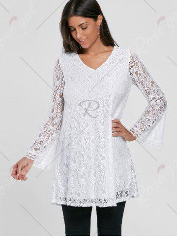 Store Bell Sleeve Lace Tunic Top - M WHITE Mobile