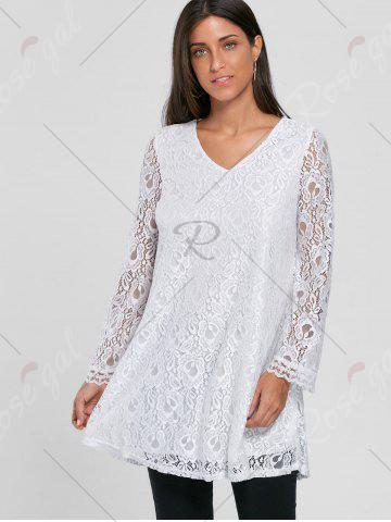 Fancy Bell Sleeve Lace Tunic Top - M WHITE Mobile