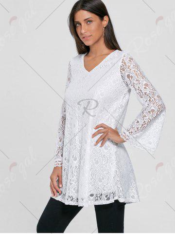 Shop Bell Sleeve Lace Tunic Top - M WHITE Mobile