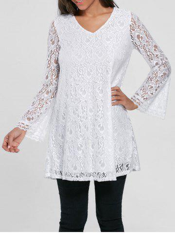 Outfits Bell Sleeve Lace Tunic Top - M WHITE Mobile