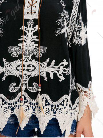 Affordable Embroidery Crochet Insert Beach Top - ONE SIZE BLACK Mobile