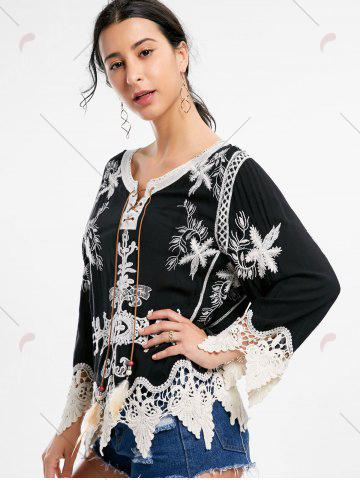 Online Embroidery Crochet Insert Beach Top - ONE SIZE BLACK Mobile
