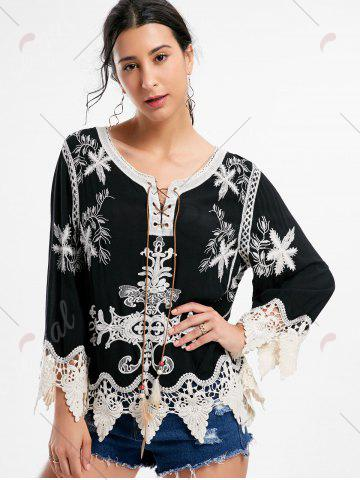 Sale Embroidery Crochet Insert Beach Top - ONE SIZE BLACK Mobile