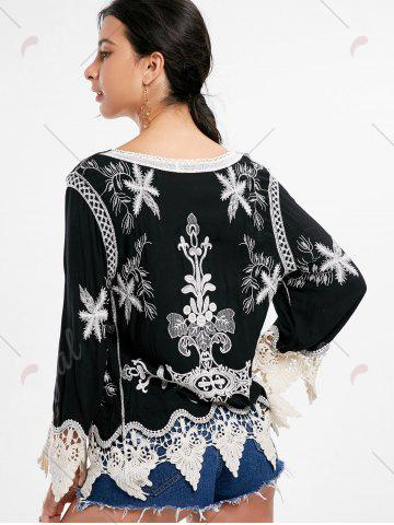 Discount Embroidery Crochet Insert Beach Top - ONE SIZE BLACK Mobile