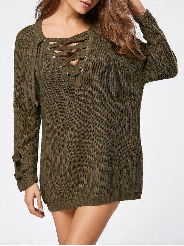 Sale Lace Up Raglan Sleeve Sweater - ONE SIZE LAWN Mobile