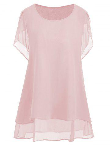 Trendy Plus Size Beaded Chiffon Tunic Top