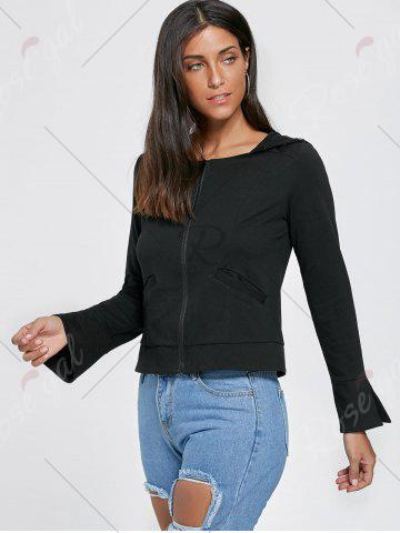 Latest Flare Sleeve Zip Up Lace Up Hoodie - M BLACK Mobile