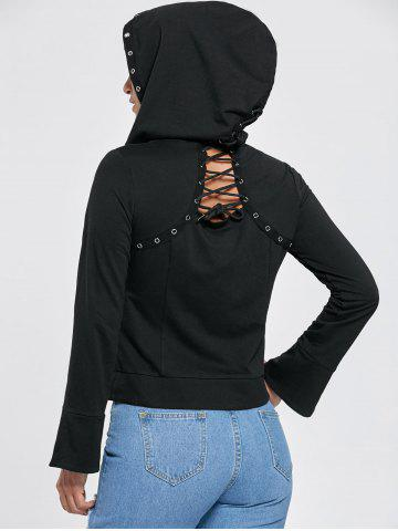 Flare Sleeve Zip Up Lace Up Hoodie Noir 2XL