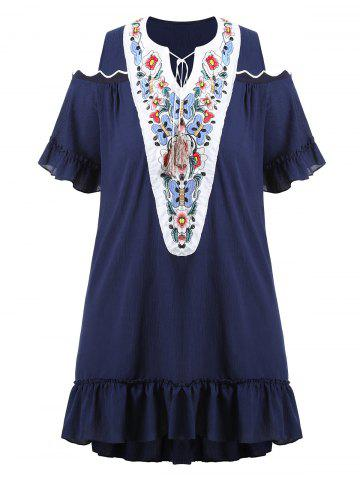 Cheap Plus Size Embroidered Long Asymmetric Cold Shoulder Top - 4XL DEEP BLUE Mobile