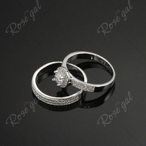 Affordable Sparkly Rhinestone Circle Finger Ring Set - 6 SILVER Mobile