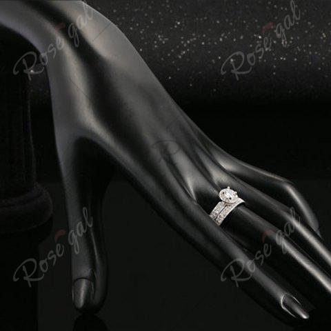 Cheap Sparkly Rhinestone Circle Finger Ring Set - 7 SILVER Mobile