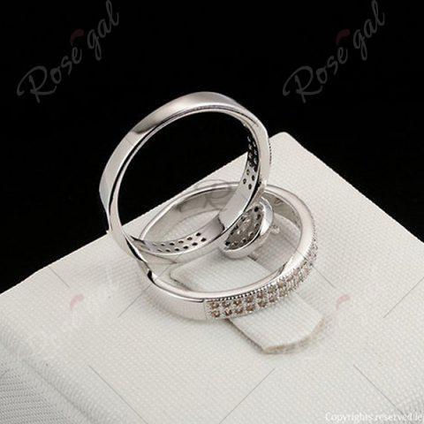 Online Sparkly Rhinestone Circle Finger Ring Set - 8 SILVER Mobile