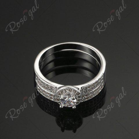 Cheap Sparkly Rhinestone Circle Finger Ring Set - 8 SILVER Mobile