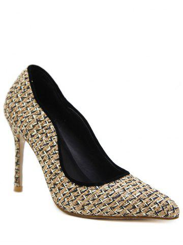 Shop Gien Check Sequins Stiletto Heel Pumps APRICOT 39