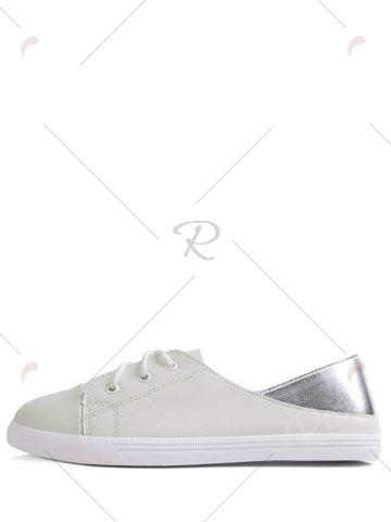Sale Two Tone Faux Leather Flat Shoes - 37 WHITE Mobile