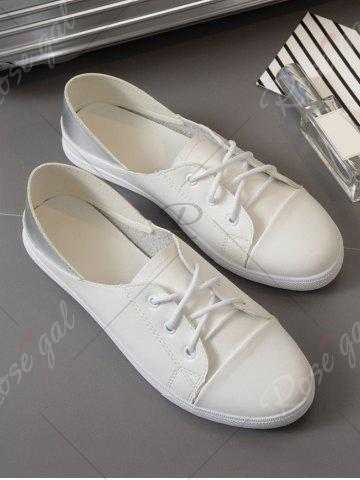 Trendy Two Tone Faux Leather Flat Shoes - 37 WHITE Mobile