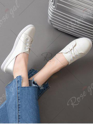 Fancy Two Tone Faux Leather Flat Shoes - 37 WHITE Mobile