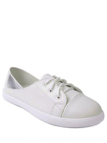 Discount Two Tone Faux Leather Flat Shoes - 38 WHITE Mobile