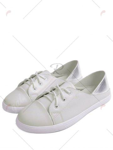 Sale Two Tone Faux Leather Flat Shoes - 38 WHITE Mobile