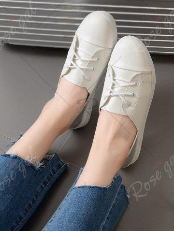 Fancy Two Tone Faux Leather Flat Shoes - 39 WHITE Mobile