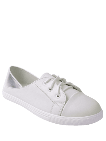 Trendy Two Tone Faux Leather Flat Shoes - 39 WHITE Mobile